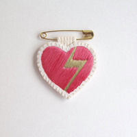 Embroidered heart brooch on bright cream muslin with gold lightning bolt and hot pink on a gold tone safety pin Valentines day gift