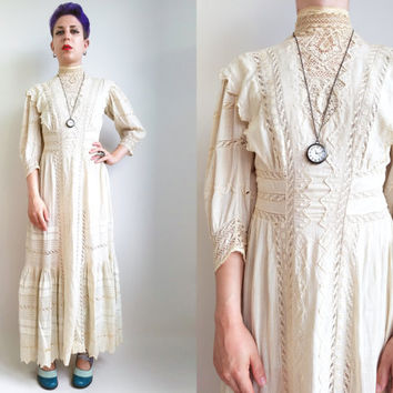 Edwardian Dress/ Antique 1900s Cream Dress Striped Cotton Hippie Boho Dress Bohemian Edwardian Wedding Dress Womens Size Extra Small