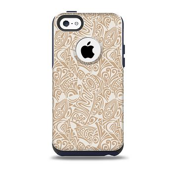 The Tan Abstract Vector Pattern Skin for the iPhone 5c OtterBox Commuter Case