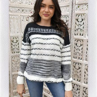 Evania Knit Sweater- Stripe Black