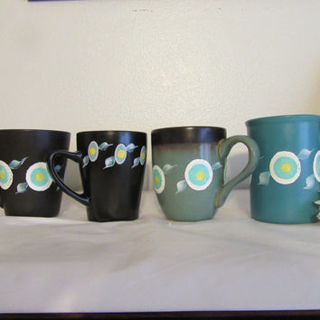 Unique One of a Kind Hand Painted By ME Cups Mugs - HAPPY DOT Design - Kitchen Decor -Great Gift Idea - Aqua Black White and Yellow Flowers