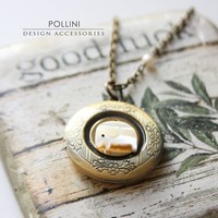 Good Luck Elephant Locket Necklace Mother of by PolliniAtelier