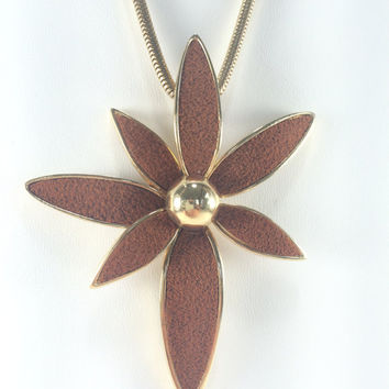 Flower Pendant Necklace, Boho Chic, Hippie, Star Magnolia, Stylized Daisy, Statement Necklace, Suede Pendant, 1970's Fall Fashion Jewelry