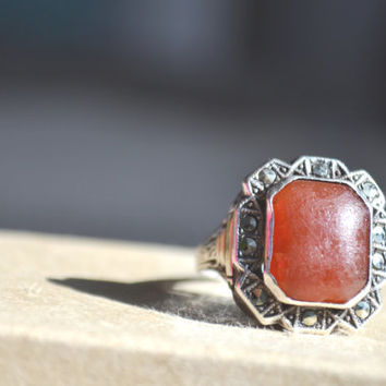 Antique Ring, Carnelian, Marcasite, Art Deco, Sterling Silver Ring, Size 7.25