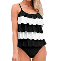 2017 High Quality Brand Ruffle Women's Two Piece Suit Tankini Swimsuit  Black/White Female Beachwear Bathing Bikinis SL1688