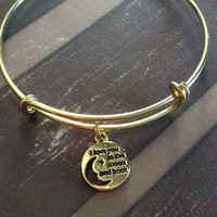 I Love you to the Moon and Back on a Gold Expandable Bracelet Adjustable Gold Wire Bangle Meaningful Gift Trendy Stacking