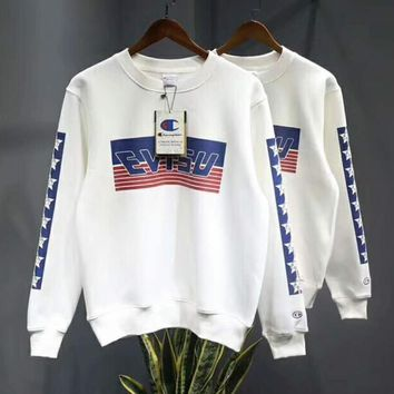 EVISU X CHAMPION Fashion Print Top Sweater Pullover Hoodie Sweatshirt I-MG-FSSH