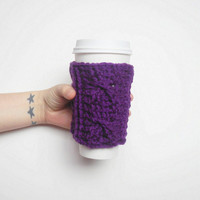 Crochet Cable Stitch Coffee Cozy in Eggplant, ready to ship.