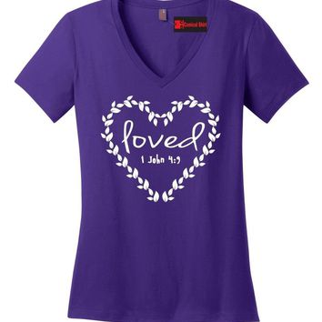 Loved Religious Ladies V-Neck T Shirt Jesus Christian Bible Verse Graphic Tee Z5
