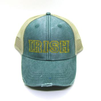 IRISH Trucker Hat - Green Distressed Snapback