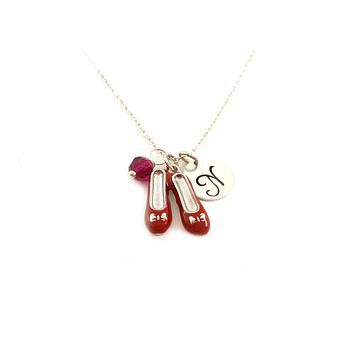Ruby Slippers Necklace - Wizard of Oz Charm - Personalized Initial Sterling Silver Custom Jewelry