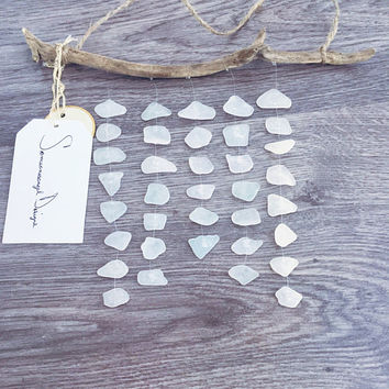 Mobile, Wall Art, Home Decor, Sea Glass Mobile, Wind Chime, White Sea Glass, Beach Decor, Driftwood Decor, Wedding Decor, Girls Room Decor