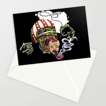 Greeting card, Tattoo, Skull, Punk, football, blank card, envelope, helmet, artist, awesome, cool, birthday, congratulations