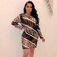FENDI Women Fashion FF Letter Sequin Long Sleeve Dress