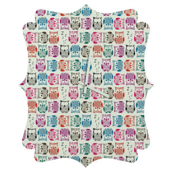 Sharon Turner Light Sherbet Owls Quatrefoil Clock