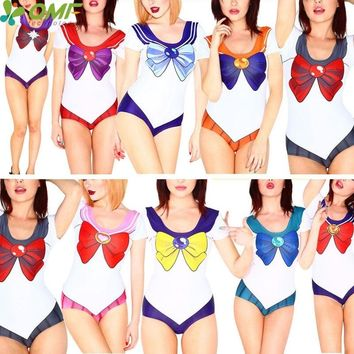 Sailor Moon Swimsuits Women's Multicolor Sailor Crystal Cosplay Brazilian Bikinis Short Sleeved One Piece Bathing Suits Monokini