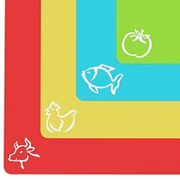 "Extra Thick Flexible Cutting Mats With Food Icons & ""EZ-Grip"" Back(Set Of 4)"