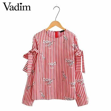 Women sweet crane print red striped shirt bow tie long sleeve back zipper loose blouse ladies summer brand tops blusas LT1653