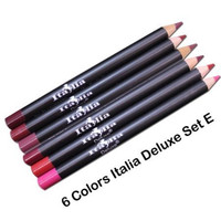 "6 Colors of Italia Deluxe Lip Liner Set E - Travel Size (5"") Ultra Fine Pencils - Mighty Gadget Collection E"