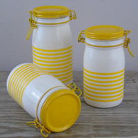 Vintage Kitchen Jars, Cerve Italy Canisters, Milk Glass Wire Bale Hinged Sealing, Set of 3 Coffee Flower Suggar Containers