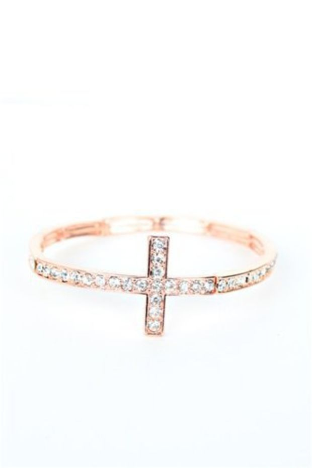 Skinny Cross Bracelet- Rose Gold