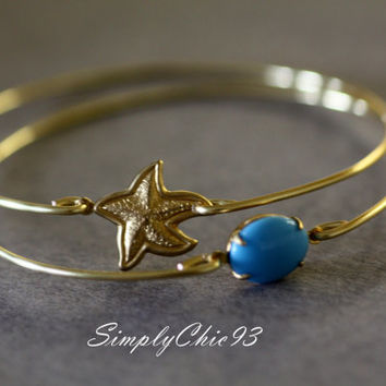 Gold bangle, starfish, Turquoise Stone, Turquoise Bracelet, Bridesmaids Jewelry, Wedding , Beach, stackable bangles