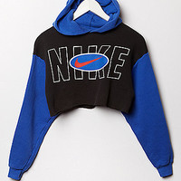 Retro Gold Vintage Nike Colorblock Cropped Hoodie Fleece Sweatshirt at PacSun.com