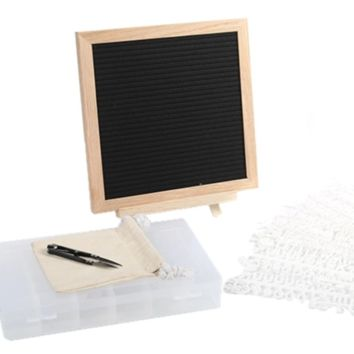 """SALE Felt Letter Board 10x10 Inches. Changeable Letter Boards Include bag, 790 (340 ¾""""+ 450 1"""") White Plastic Letters, Numbers, Special Characters, Emojis , Symbols, and Punctuation, Sorting Tray, Oak Frame & Easel"""