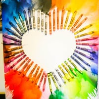 Melted Crayons on Canvas Heart Shape - Handmade