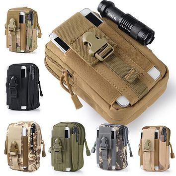 Universal Outdoor Tactical Holster Military Molle Hip Waist Belt Bag Wallet Pouch Purse Phone Case with Zipper for iPhone 7