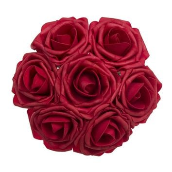 Red Artificial Flowers 50pcs Real Looking Roses with Stems for Wedding Bouquets Centerpieces Party Baby Shower Decorations DIY