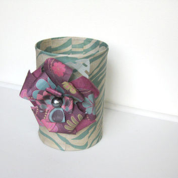 Decorative Art Vase Upcycled Coffee Can Pink Teal Paper Flower Decor Embellishment Zebra Print Desk Home Accessory