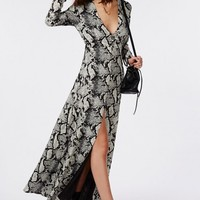 V-NECK BUTTON DOWN SPLIT FRONT MAXI DRESS SNAKE PRINT