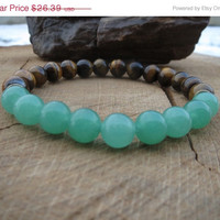 VALENTINE SALE Aventurine  Tigereye Mala Beads Bracelet, Wristmala, Japamala, Prosperity and Wealth, Luck and Opportunity,  Chakra Healing