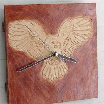 "Owl, quiet leather wall clock 22x22cm (9x9"") animal wild life wildlife nature home office bird walnut stain silent quartz movement, Paladim"