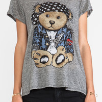 Lauren Moshi Edda Color Rocker Teddy Vintage Tee in Gray