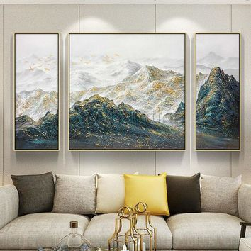 3 pieces Wall Art Gold Art mountains Peaks Modern landscape Gold birds abstract Painting on canvas Original wall Pictures cuadros abstractos