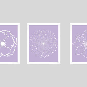 Set of 3 White Flower Blossoms on Lavender Prints CUSTOM COLORS Modern Art Prints for Nursery Decor Colors Modern prints  8x10