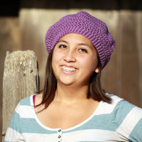 Teen / Women's Light Purple Crocheted 80s Vintage Style Beret - Free Shipping