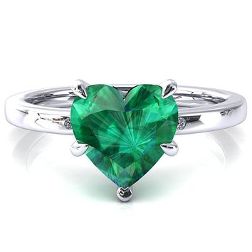 Maise Heart Emerald 5 Prong Diamond Accent Engagement Ring