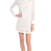 CUFFED LONG SLEEVE FLORAL LACE DRESS