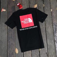 """The North Face"" Unisex Casual Red Box Letter Print Couple Short Sleeve T-shirt Top Tee"