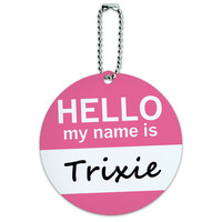 Trixie Hello My Name Is Round ID Card Luggage Tag