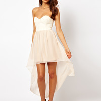 Rare | Rare Hi Lo Dress With PU Corset at ASOS