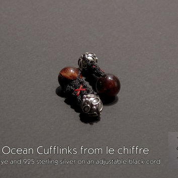 Red Ocean tiger eye silver cufflinks