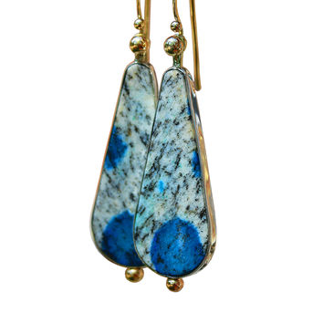 Azurite In Granite 14KT And Sterling Silver Earring