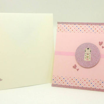 Handmade Greeting card, Swarovski crystal, Kokeshi, Japanese doll, Thank you card, Birthday Card, light pink