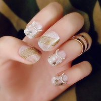 22 PCS Star Pattern and Artificial Pearl Nail Art False Nails