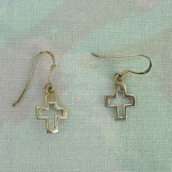 SE Signed Openwork Sterling Silver Cross Earrings SE Lightweight Religious Jewelry