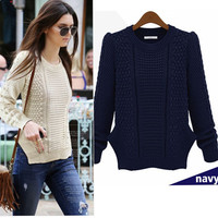 Winter Twisted Split Slim Long Sleeve Knit Tops Sweater [6281575300]
